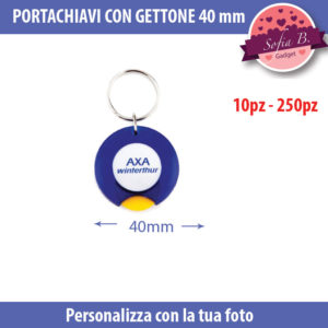 portachiavi con gettone in plastica 40 mm