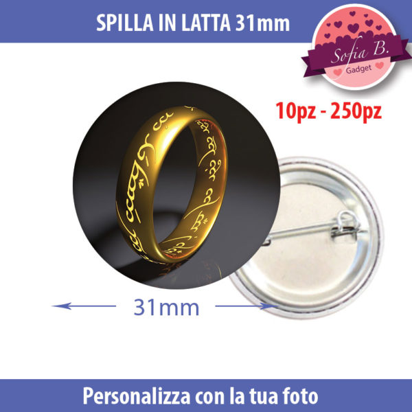 spilla 31mm personalizzabile in latta
