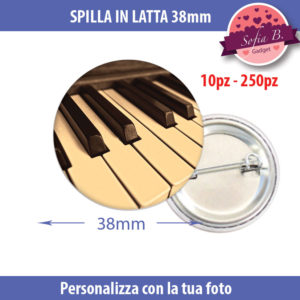 spilla 38mm personalizzabile in latta