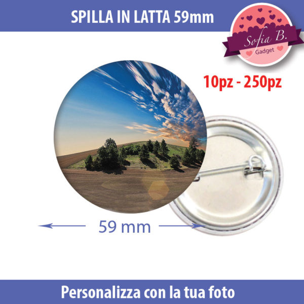 spilla 59mm personalizzabile in latta