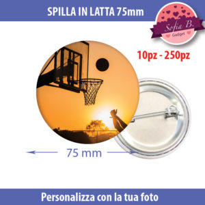 spilla 75mm personalizzabile in latta
